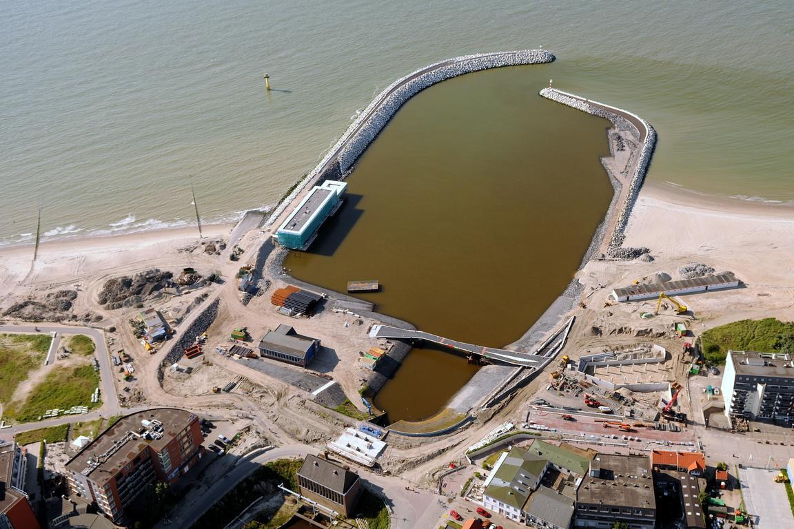 Jachthafen cadzand-Bad aus der Möwenperspektive